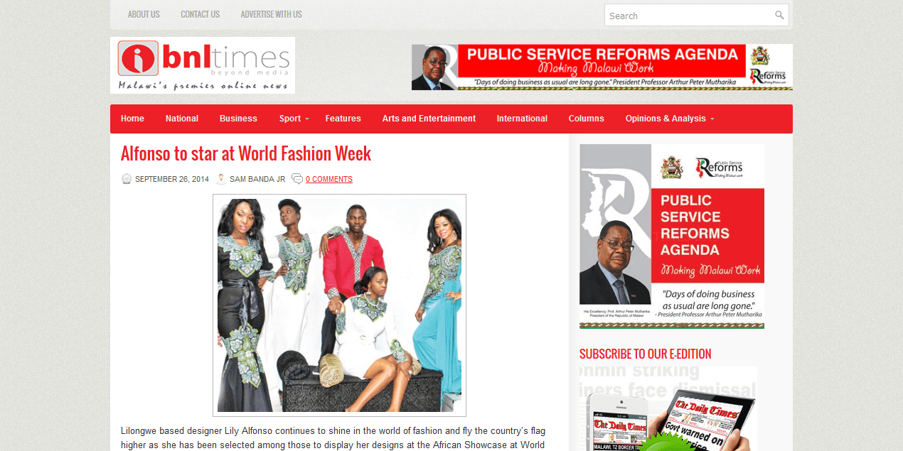 Alfonso to star at World Fashion Week<sup>®</sup>