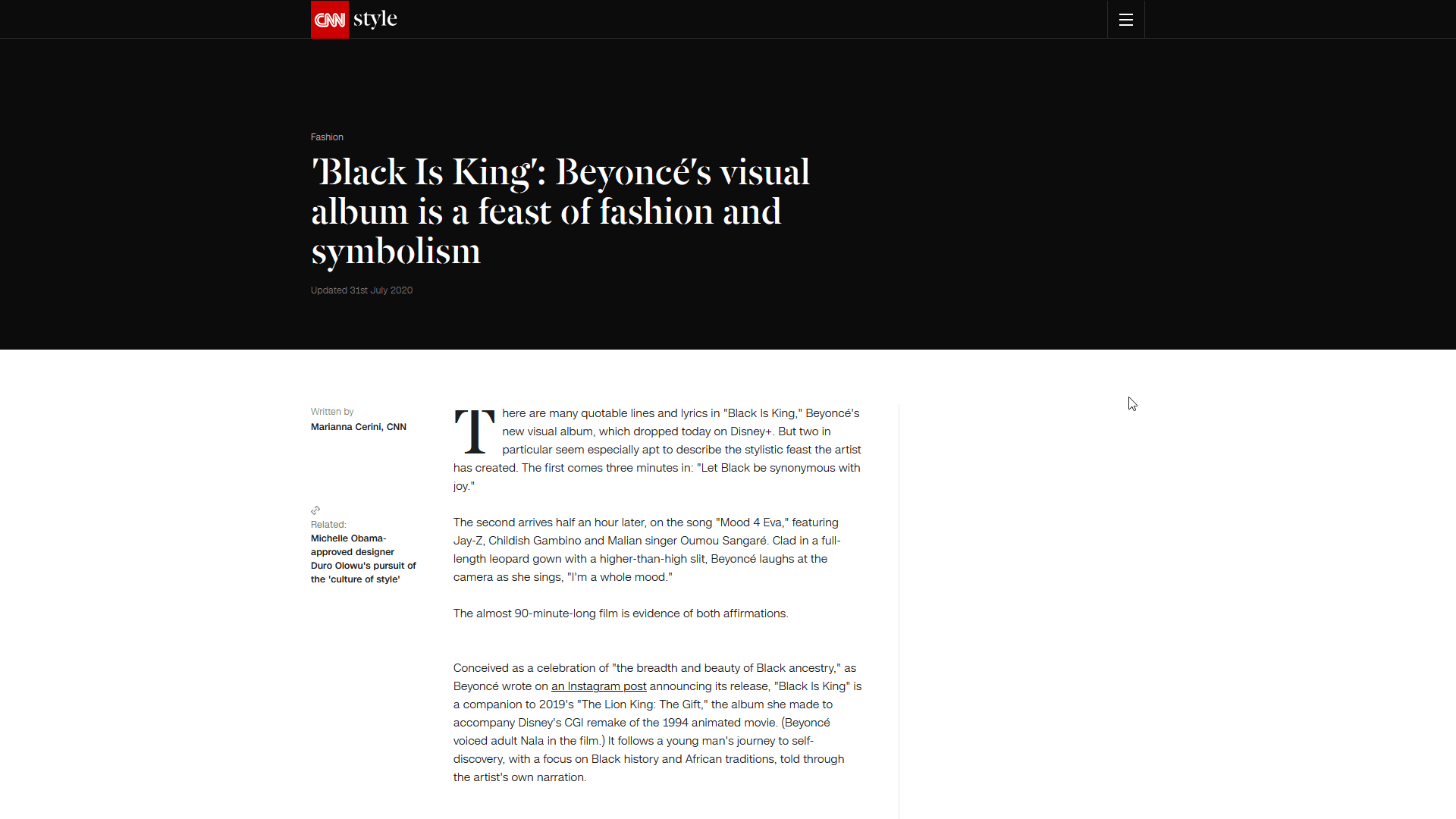 'Black Is King': Beyoncé's visual album is a feast of fashion and symbolism