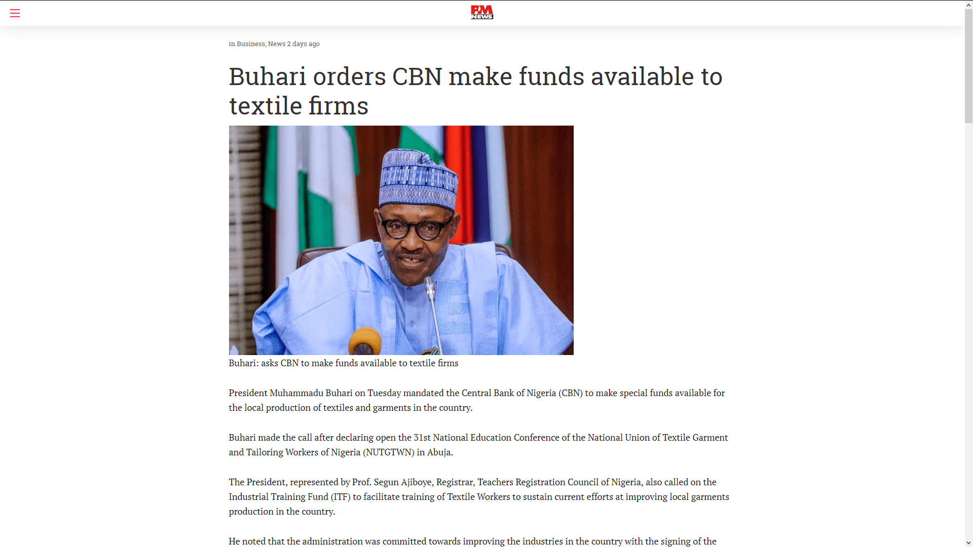 Buhari orders CBN make funds available to textile firms