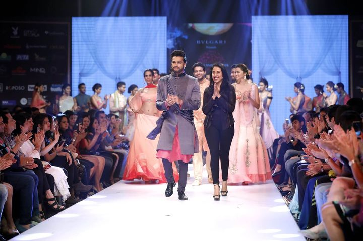 6th_Edition_Pune_Fashion_Week_Mr._World_Rohit_Khandelwal_with_Designer_Nivedita_Saboo_for_the_Grand_Finale_show