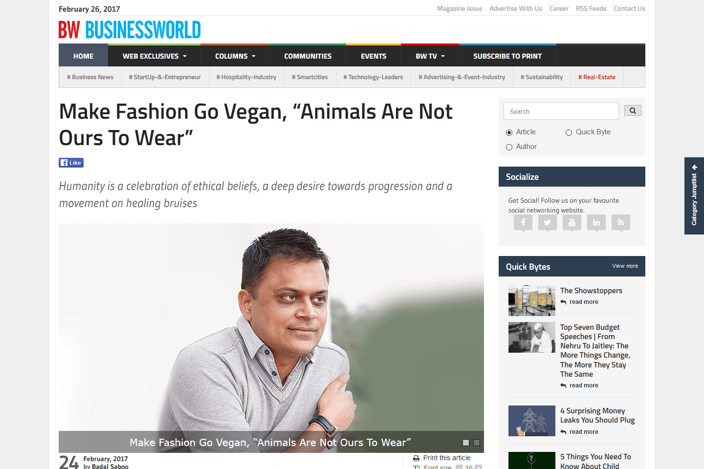 "Make Fashion Go Vegan, ""Animals Are Not Ours To Wear"""