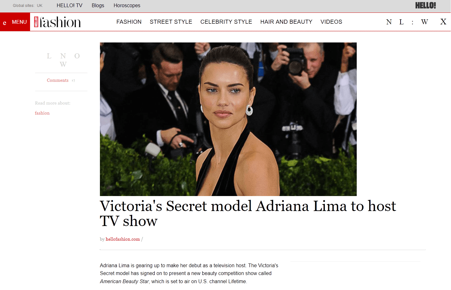 "Super Model Adriana Lima to host most upcoming Hollywood TV Series ""American Beauty Star"""